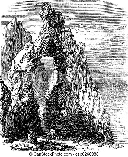 Capri, Italy, in the Tyrrhenian Sea. Natural rock arch or gaunt rock vintage engraving - csp6266388