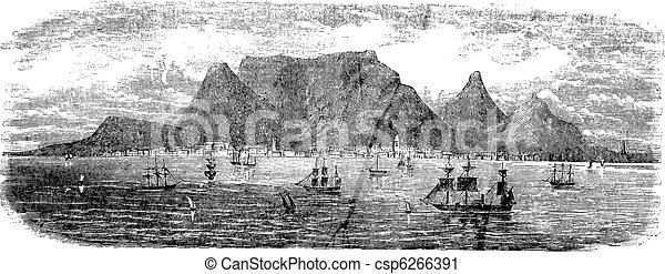 Scenic view from Table bay vintage, Cape Town, South Africa vintage engraving - csp6266391