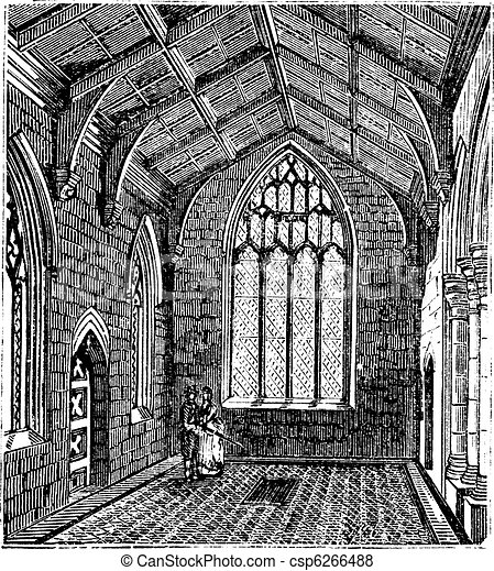 Cotton Chapel, Saint Botolph's Church vintage engraving - csp6266488