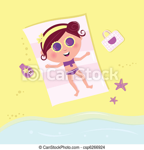 Sunbathing girl with sun glasses on the sunny beach  - csp6266924