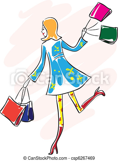 Happy young woman run with shopping bag - csp6267469