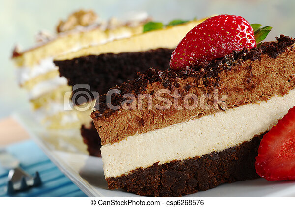 Layer cakes on a long plate: Chocolate Mousse Cake, Lucuma Cake and Walnut Cake (Selective Focus, Focus on the cake in the front) - csp6268576
