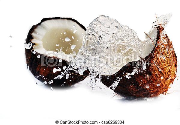 cracked coconut splashing - csp6269304