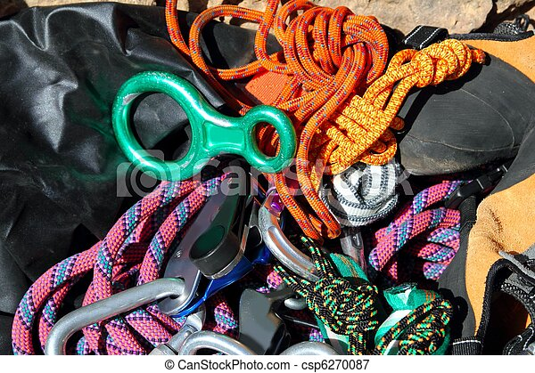climbing equipment shackles harnesses ropes - csp6270087