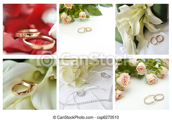 collage of wedding rings and flowers