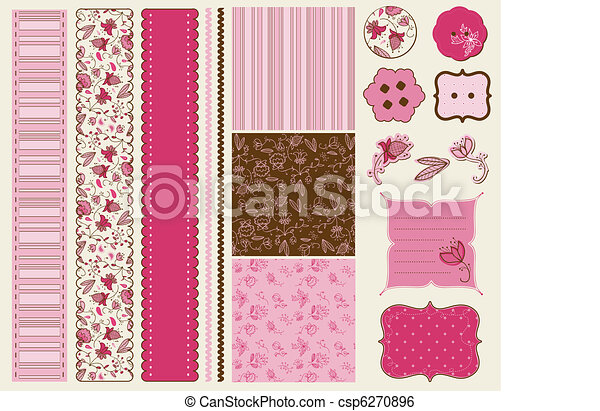 Scrapbook Flower Set - csp6270896