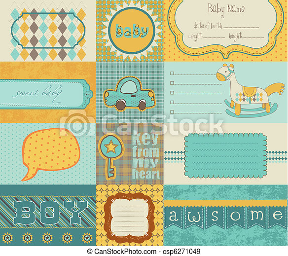 Design elements for baby scrapbook - csp6271049