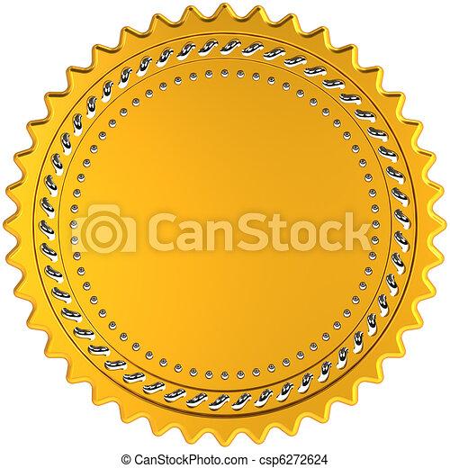 Award medal golden seal blank - csp6272624