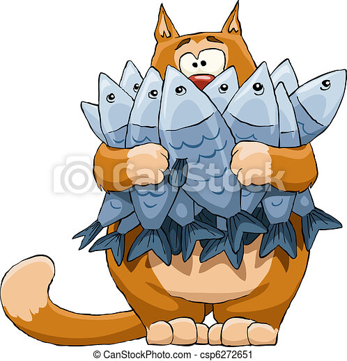 Cat and fish - csp6272651