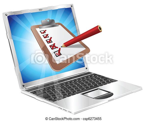 Online survey laptop clipboard concept  - csp6273455