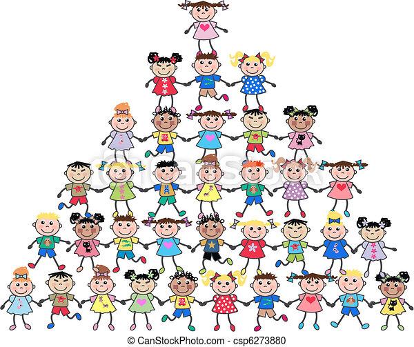 mixed ethnic kids - csp6273880