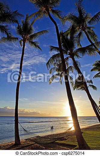pacific sunset at kaanapali beach on maui  - csp6275014