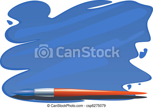 Brush and brushstrokes of blue paint - csp6275079