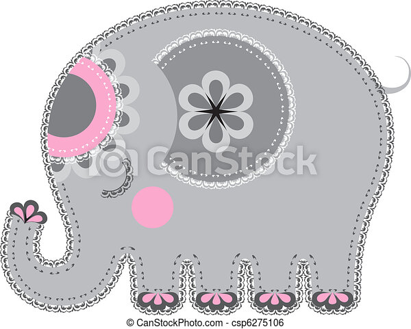Fabric animal cutout. Elephant - csp6275106