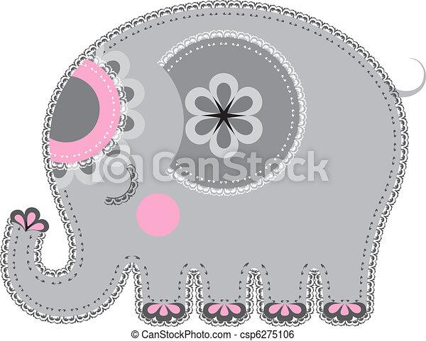 Fabric animal cutout. Elephant - csp6275106