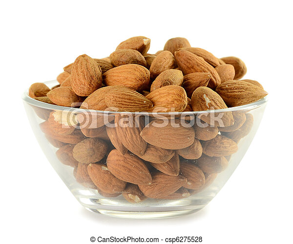 Dish with almonds isolated on white - csp6275528