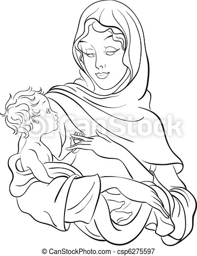 Virgin Mary hold baby Jesus - csp6275597
