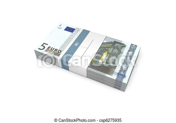 Packet of 5 Euro Notes with Bank Wrapper - csp6275935