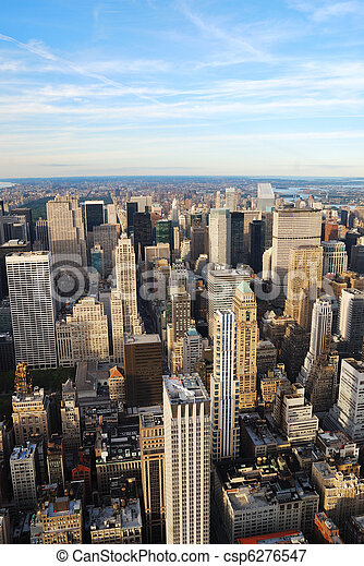 New York City skyline aerial view - csp6276547