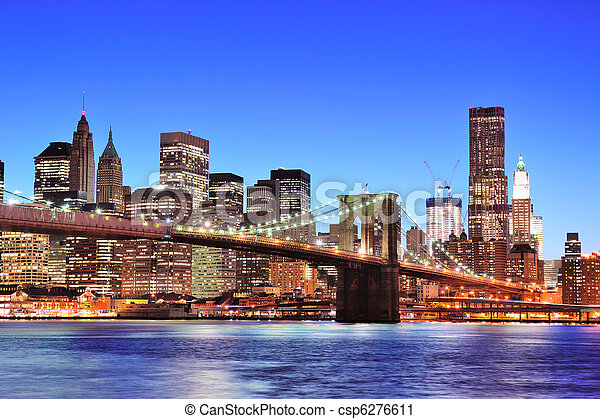 Brooklyn bridge with New York City Manhattan downtown - csp6276611