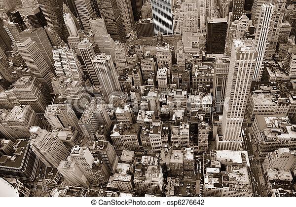 New York City Manhattan street aerial view black and white - csp6276642