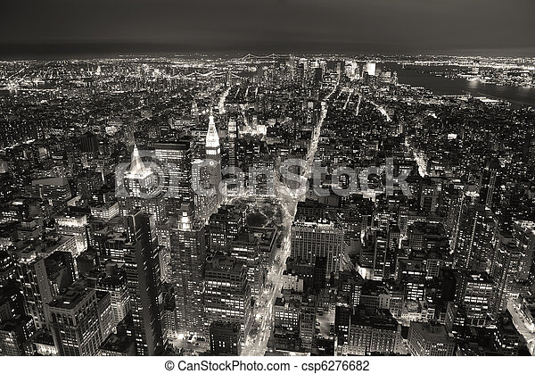 New York City Manhattan aerial view at dusk with urban city skyline and skyscrapers buildings black and white - csp6276682