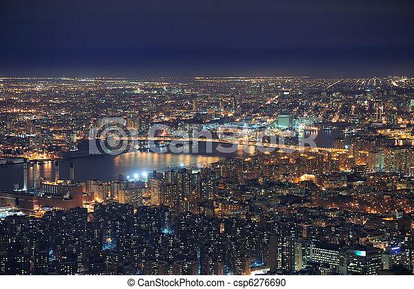 New York City Manhattan skyline aerial view at dusk - csp6276690