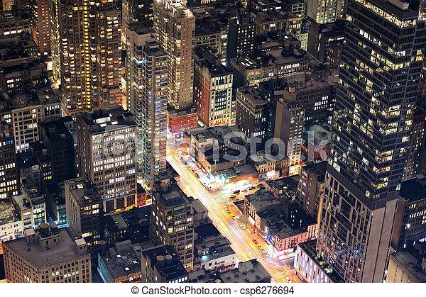 New York City Manhattan street aerial view at night - csp6276694