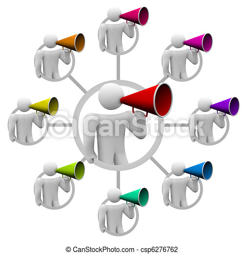 Bullhorn People Spreading the Word in Communication Network - csp6276762