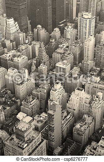 New York City Manhattan skyline aerial view black and white - csp6276777