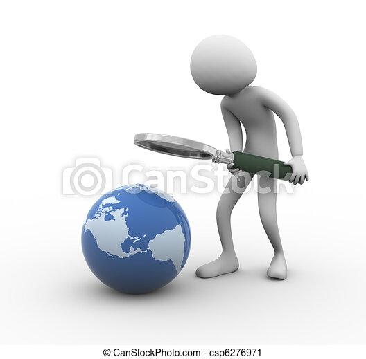 3d man globe searching - csp6276971