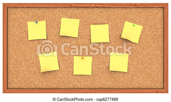 Corkboard with Post It's - csp6277489