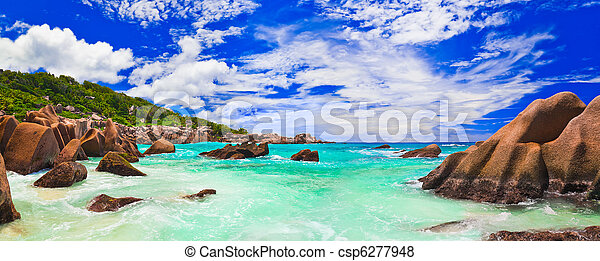 Tropical beach at Seychelles - csp6277948