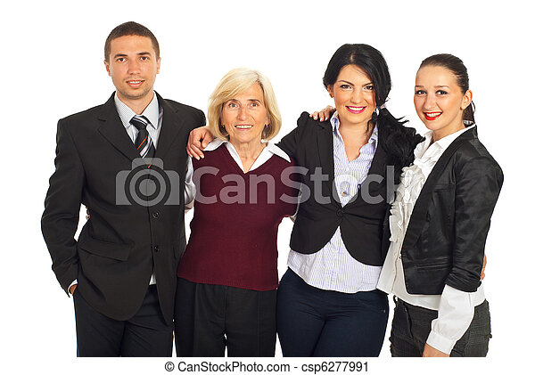 Four business people huddling in a row - csp6277991