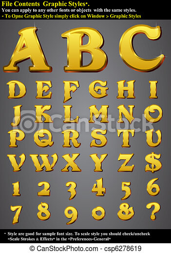 Set Alphabet Emboss Gold - csp6278619