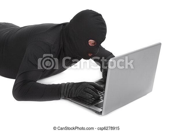data thief with laptop - csp6278915