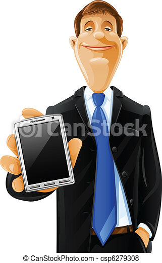 handsome man with phone - csp6279308