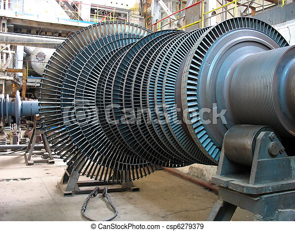 Power generator steam turbine during repair, machinery, pipes, tubes at a power plant - csp6279379