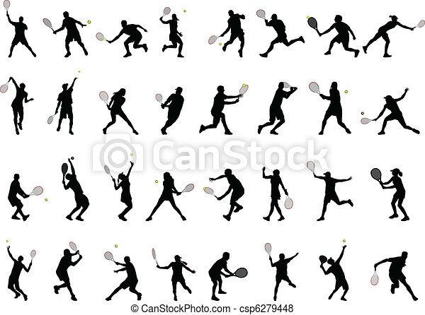tennis players silhouettes - csp6279448