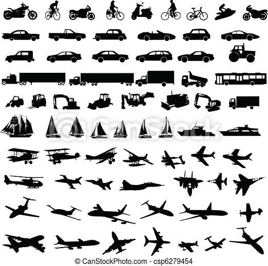 transportation silhouettes - csp6279454