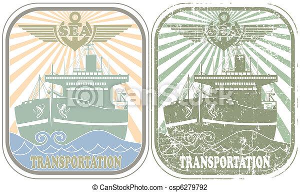 Sea transportation stamp - csp6279792