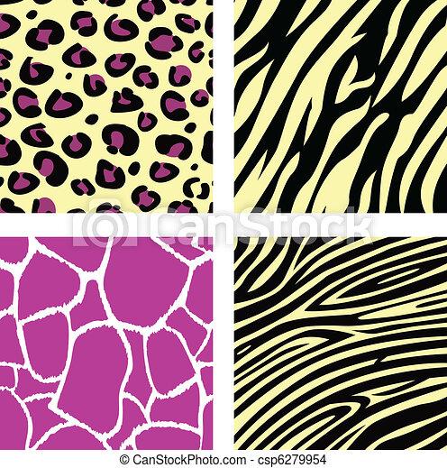 Pink & yellow animal leopar, tiger, zebra and giraffe pattern /  - csp6279954
