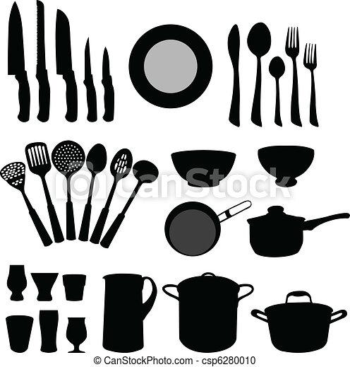 Vector clip art de elementos cocina cocina elementos for Elementos de cocina