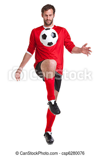 Footballer cut out on white - csp6280076