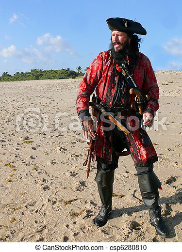 Full Length Costumed Pirate on the Beach - csp6280810