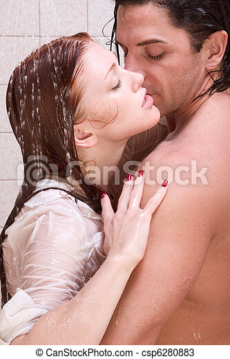 Man and woman in love are kissing in shower - csp6280883
