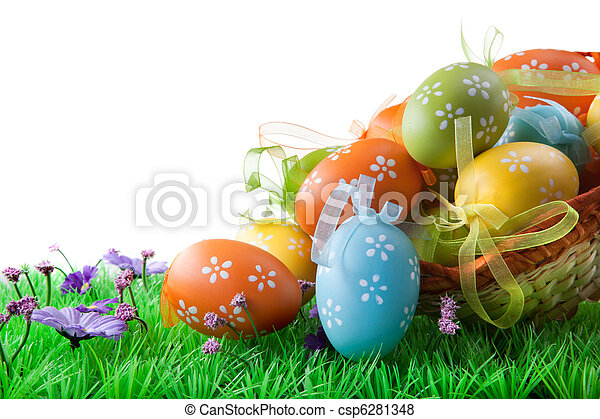color Easter eggs in basket isolated on white - csp6281348