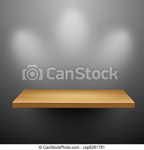 3d isolated Empty shelf for exhibit - csp6281781