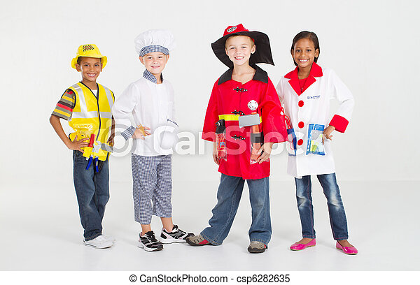 group of little workers in uniform - csp6282635