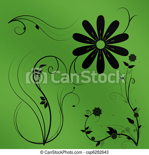 Beautiful illustrated flower background design with gradient - csp6282643
